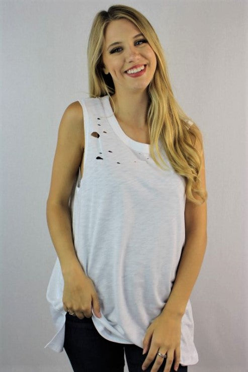 Women's Distressed Sleeveless Ripped Tank Top