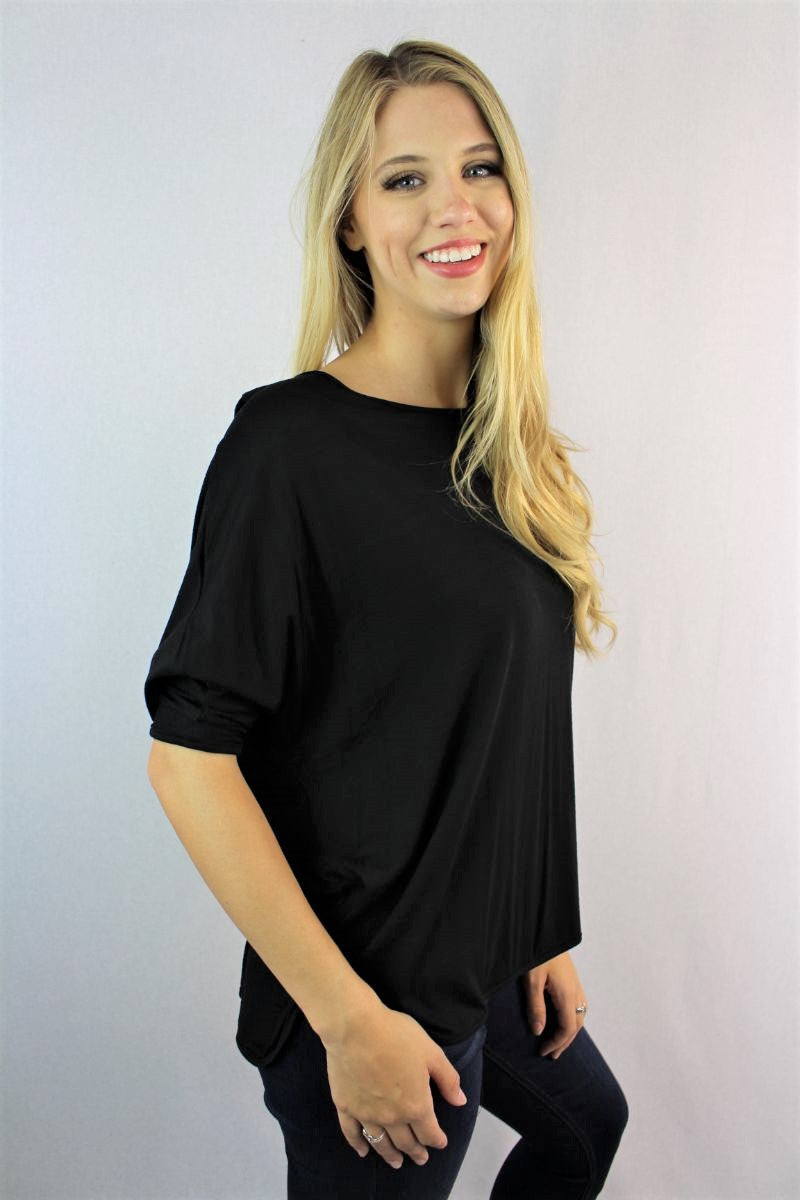 Women's 3/4 Batwing Sleeve Round Neck Top