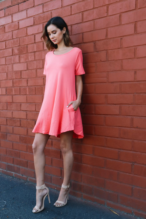 Long Peach Pocket Dress