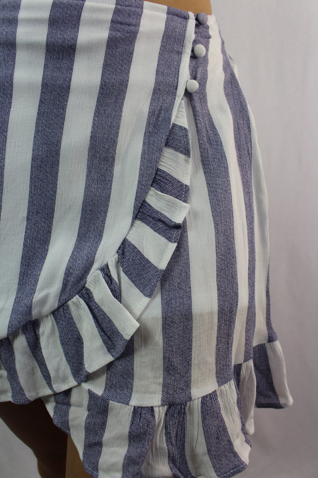 Women's Striped Ruffle Hem Overlap Skirt
