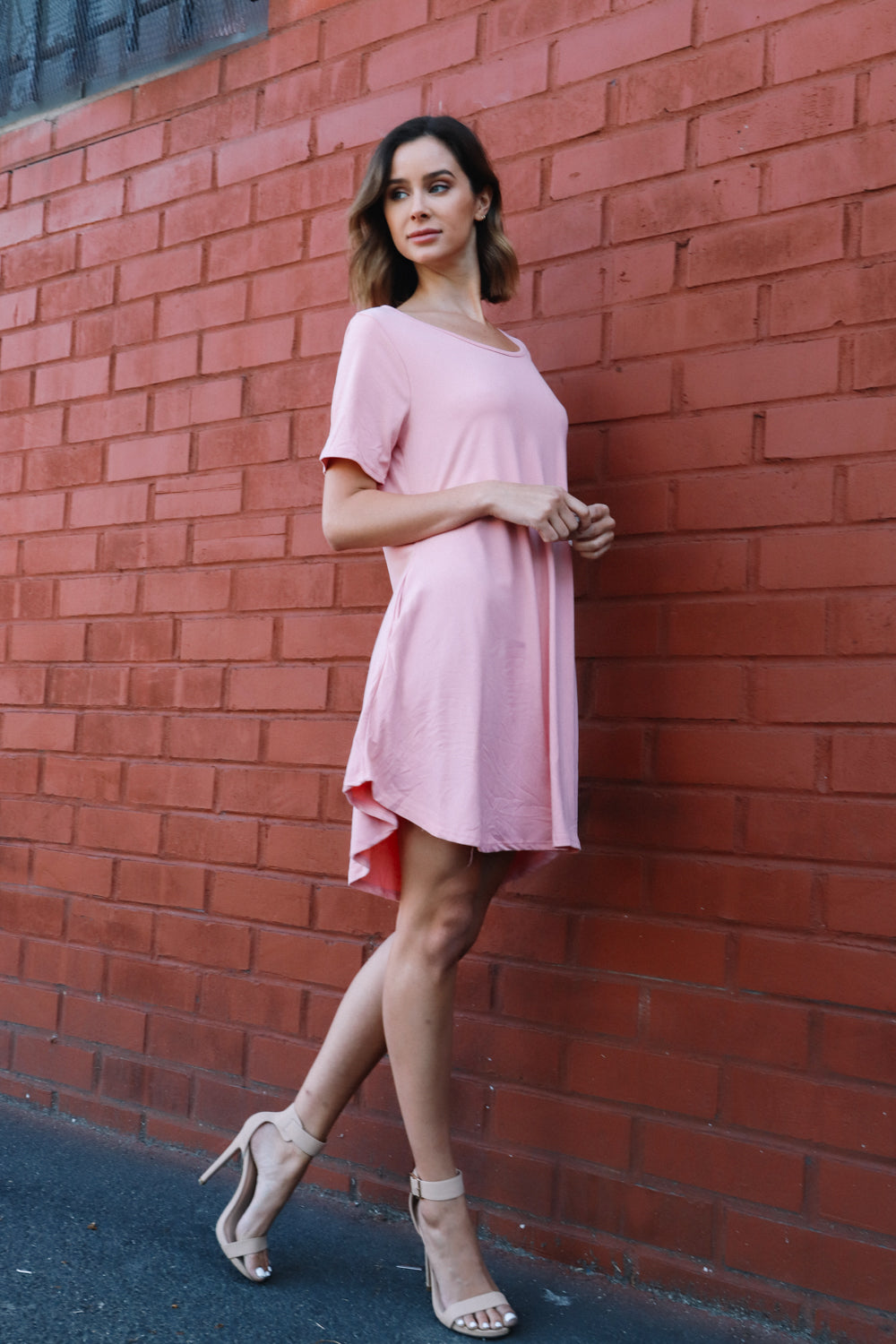 Long pink pocket dress