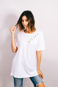 White Lace Up Detail top
