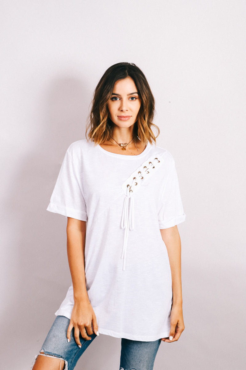 Women's White Lace Up Detail top