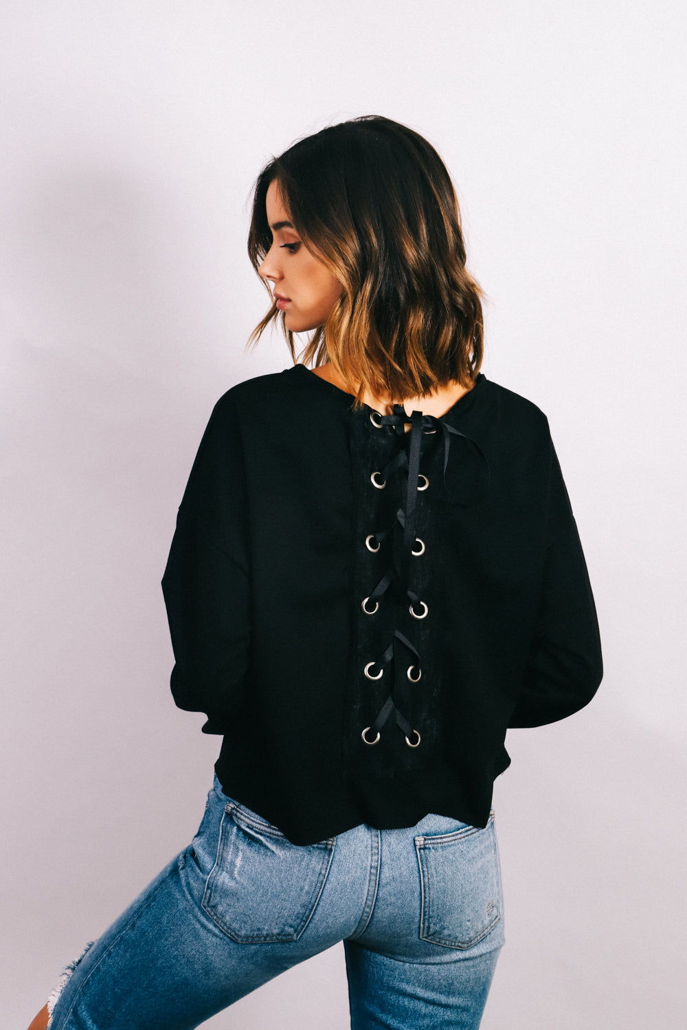 Savage Long sleeve crop top back lace details