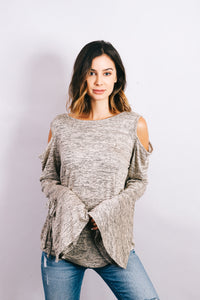Long sleeve top with bell sleeves