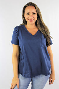 Women's Plus Size Hi Low Short Sleeve V Neck Pocket Tee