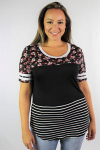 Women's Plus Size Printed T Shirt with Stripe Sleeve