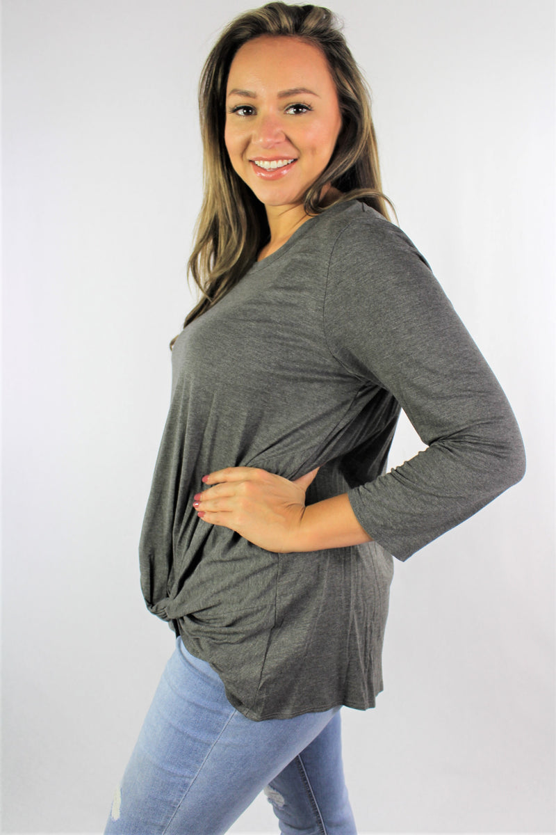 Women's Plus Size Long Sleeve Top with Front Twist