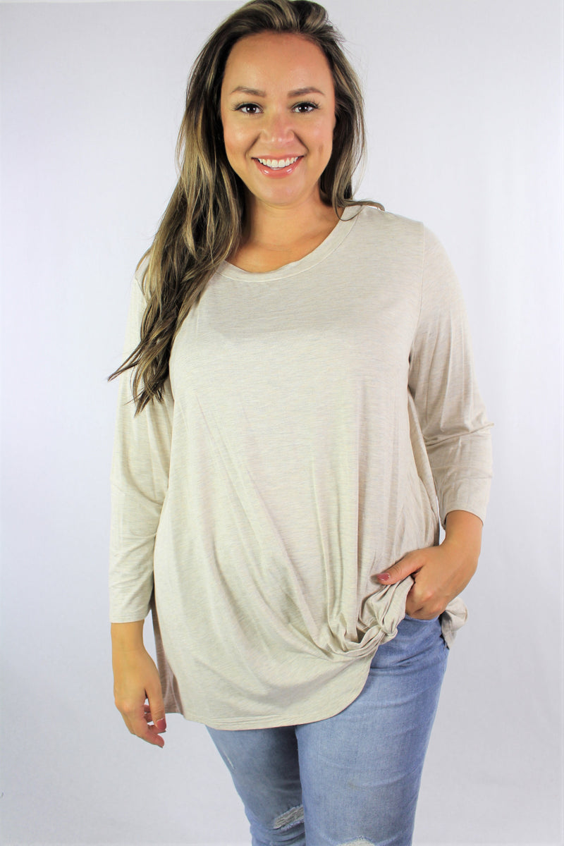 Women's Plus Size Long Sleeve Top with Front Twist *