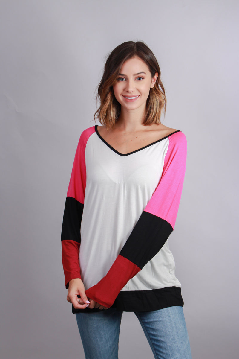 Women's V Neck Colorblock Sleeve Top