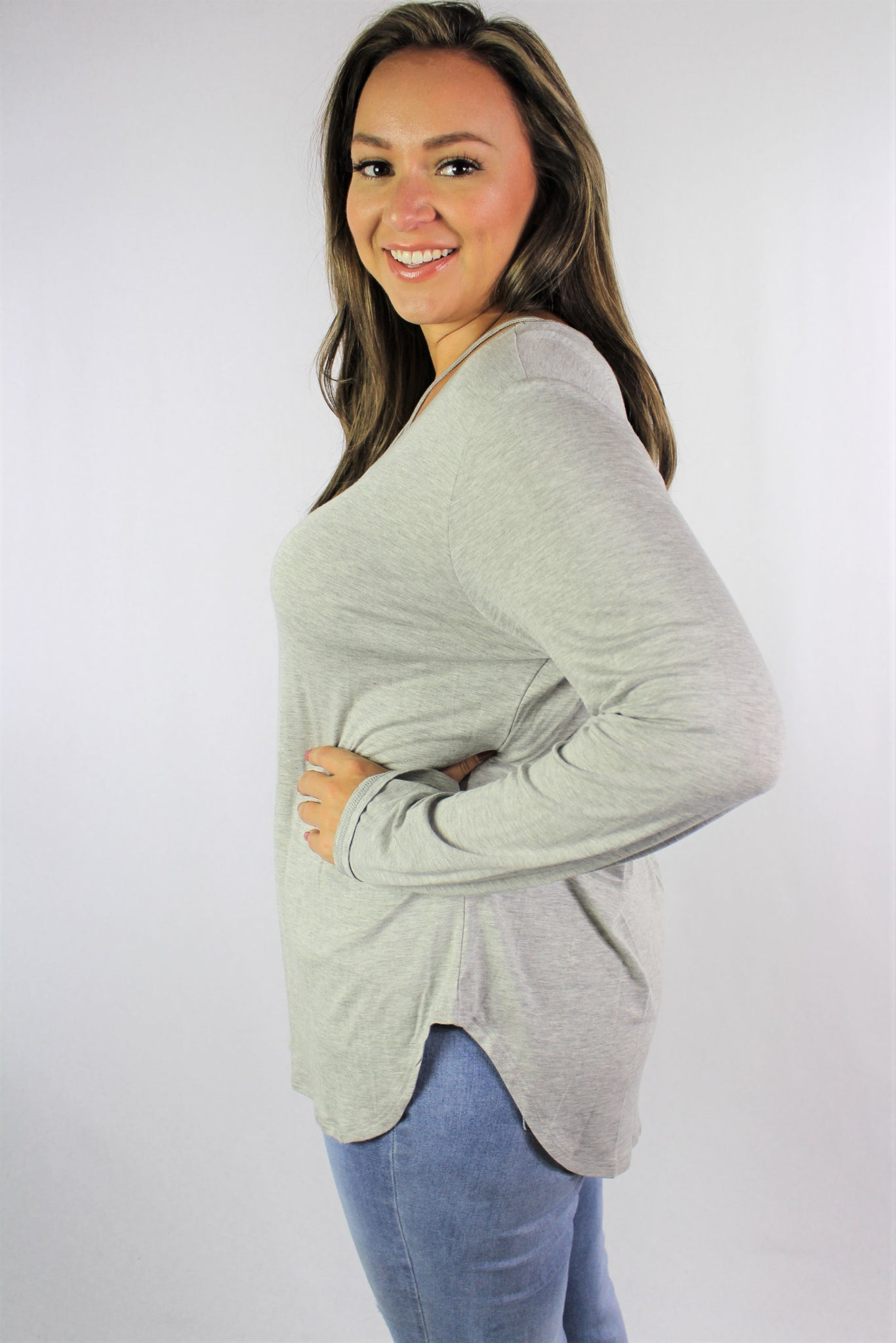 Women's Plus Size Long Sleeve Top with Criss Cross String