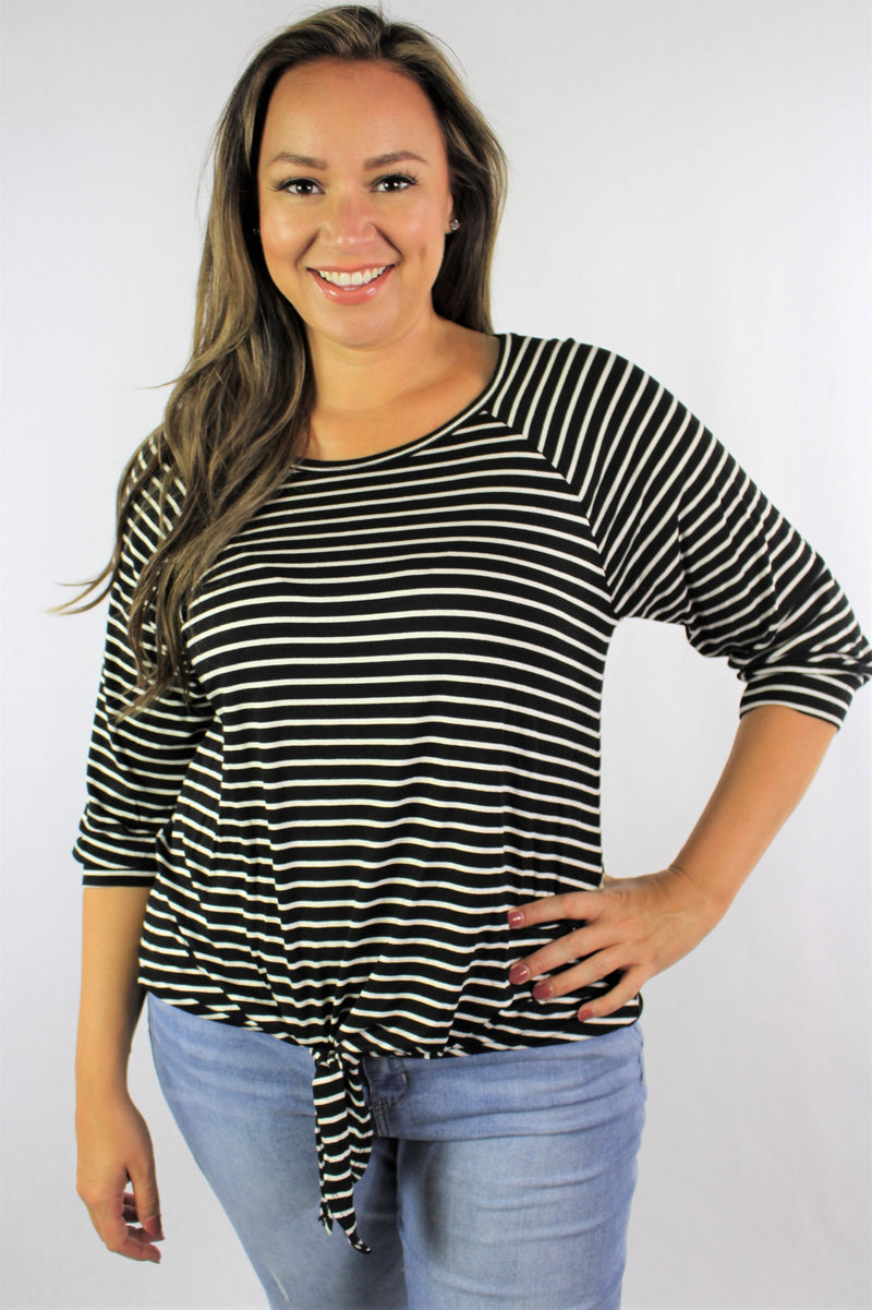 Women's Plus Size 3/4th Sleeve Stripe Top with Knot