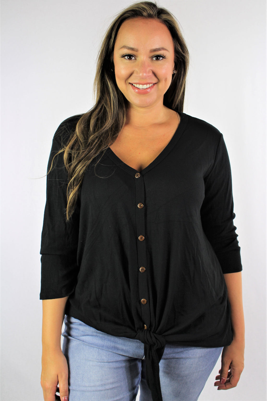 Women's Plus Size 3/4th Sleeve Solid Top with Knot