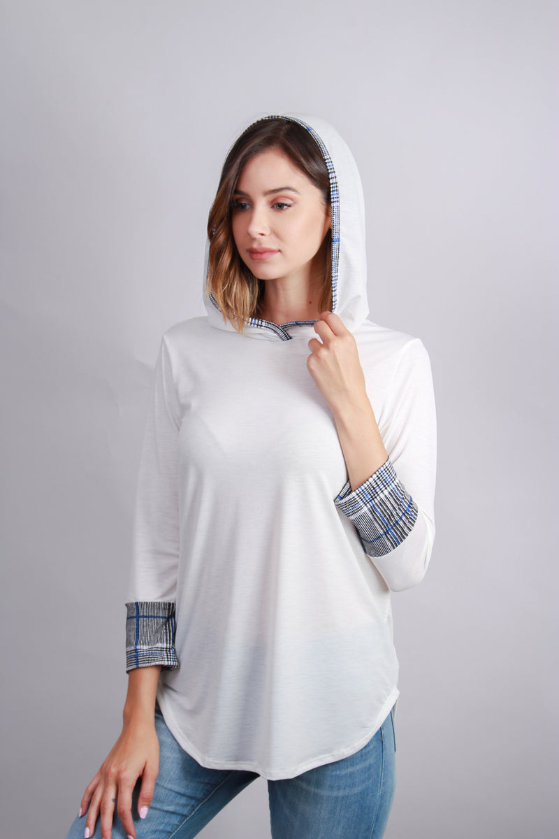 long sleeve ivory hooded top with plaid details