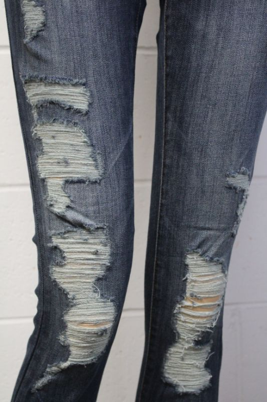 Women's Dark Wash Distressed Skinny Jeans