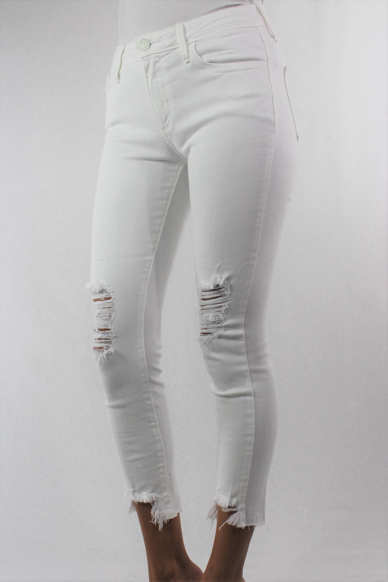 Women's White Skinny Jeans with Ripped Bottom Hem