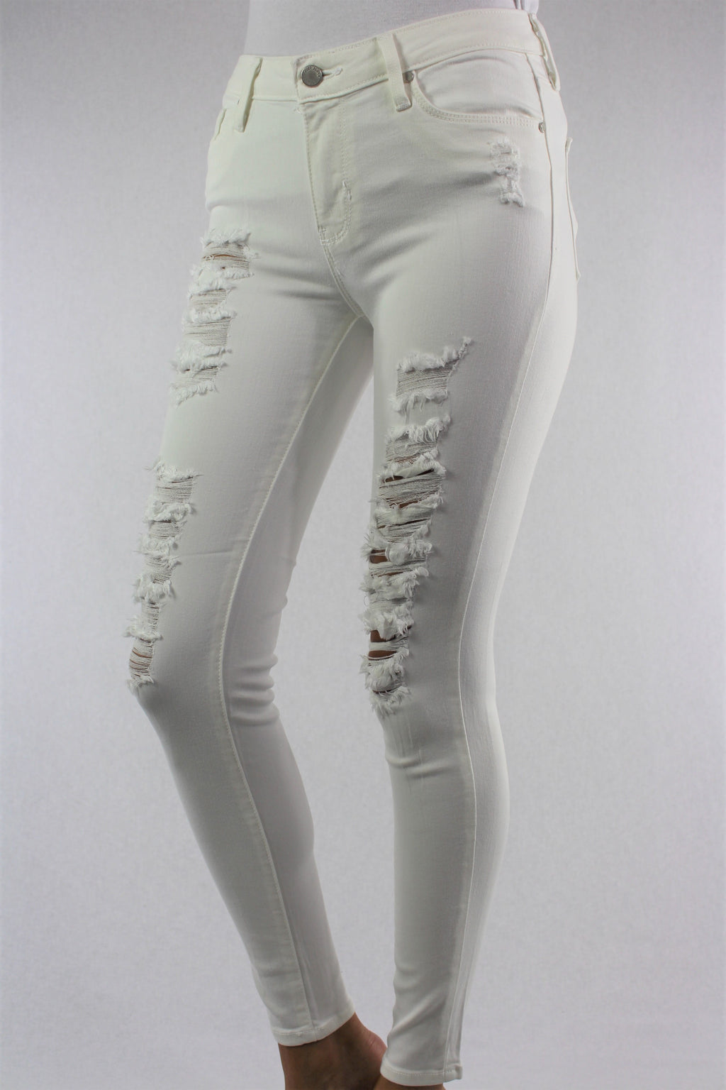 Women's White Skinny Ripped Jeans