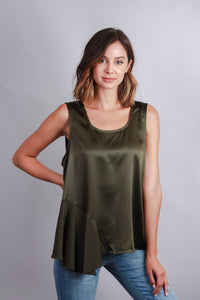 olive sateen sleevless blouse