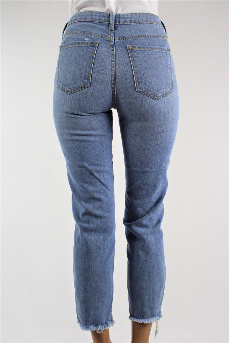 Women's Straight Cut Jeans with Uneven Hem