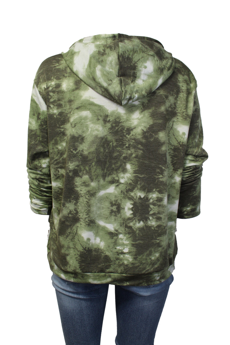 Women's Plus Size Long Sleeve Tie Dye Comfy Hoodie