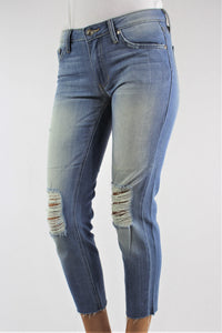 Women's Medium Wash Skinny Jeans with Ripped Knee