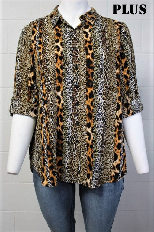 Women's Plus Long Sleeve Button Down Animal Print Top