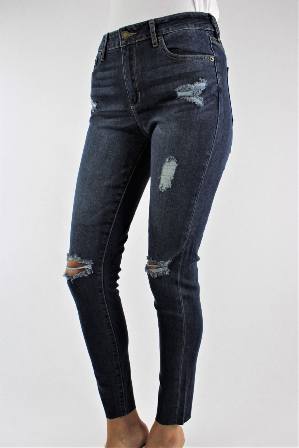 Women's Dark Wash Skinny Jeans with Ripped Detail