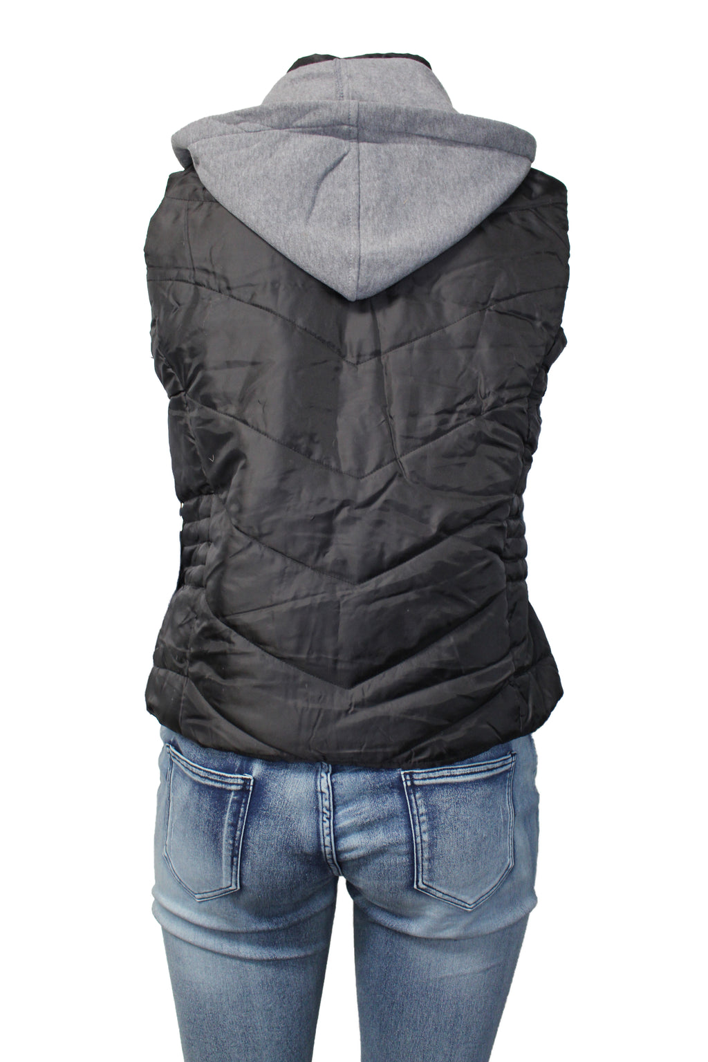 Women's Plus Quilted Puffer Vest with Removable Hood