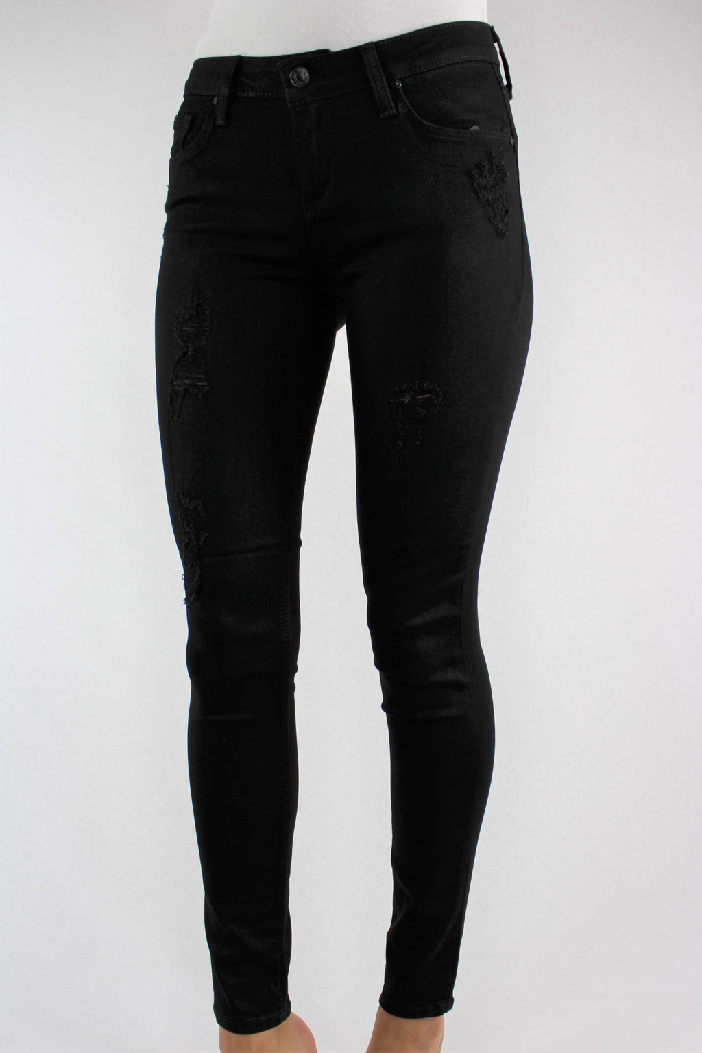 Women's Black Skinny Ripped Jeans