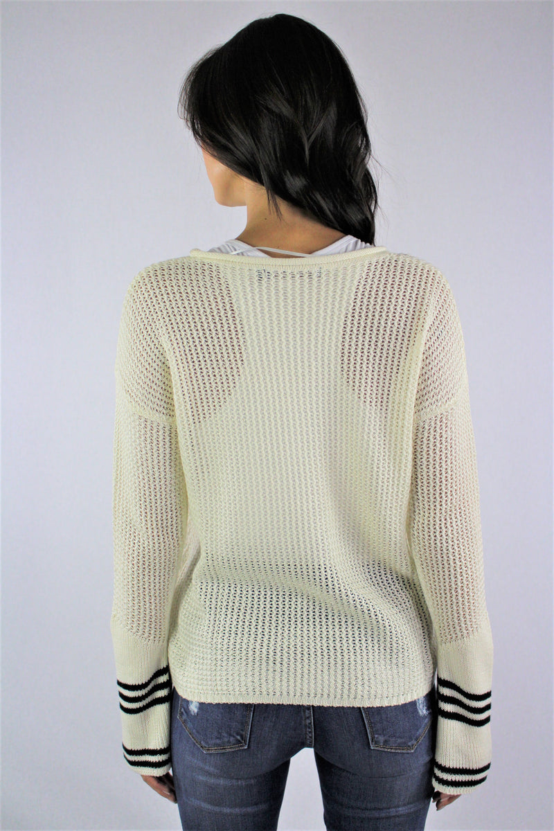 Women's Bell Sleeve Knit Top with Stripe Detail