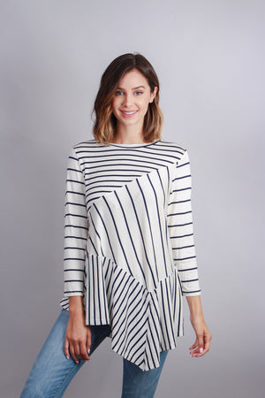 3/4 Sleeve Striped Tunic with Slanted Hem