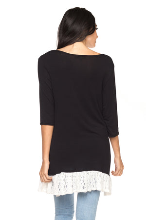 Black Long Sleeve Tunic with Lace Hem