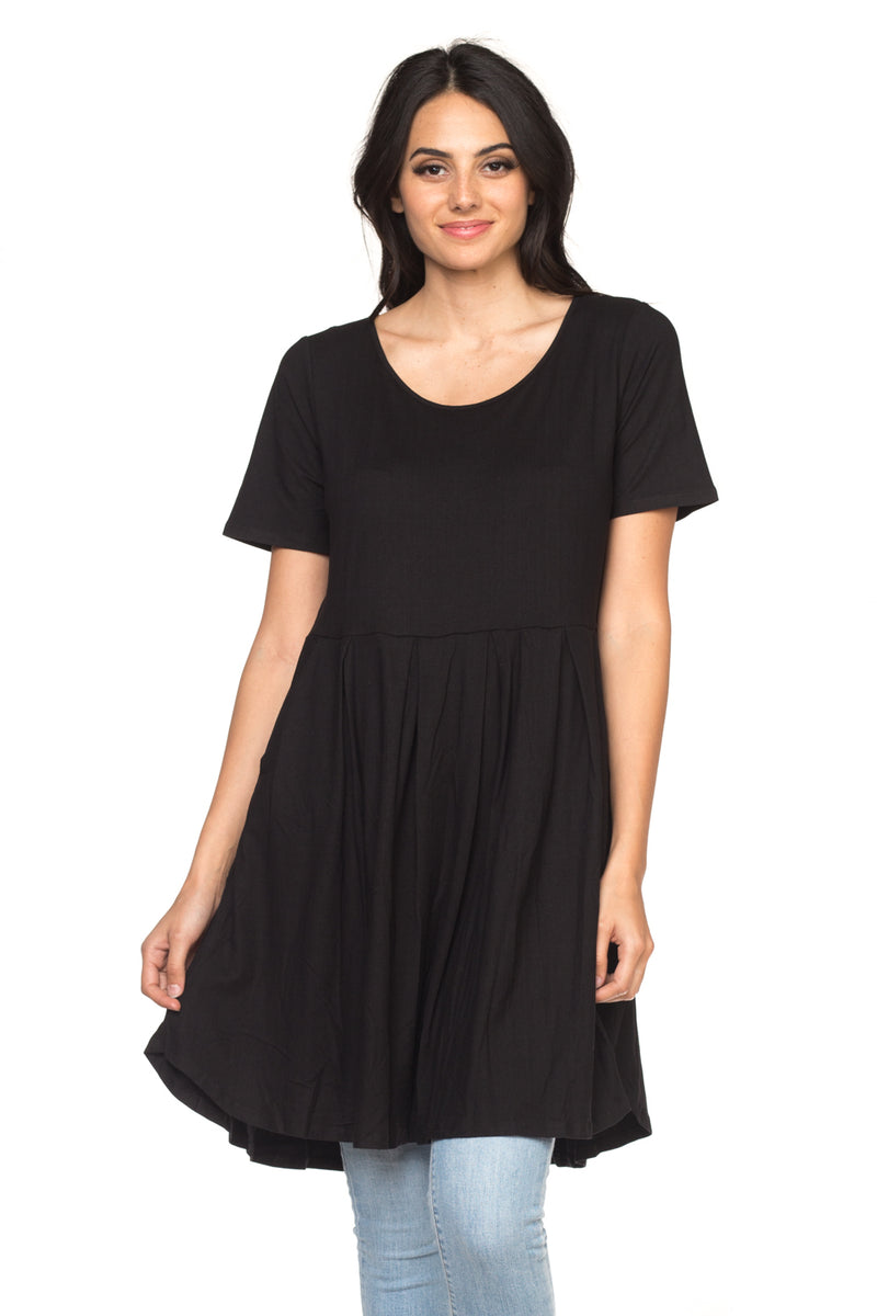 Black Ombré Pocket A-Line Dress