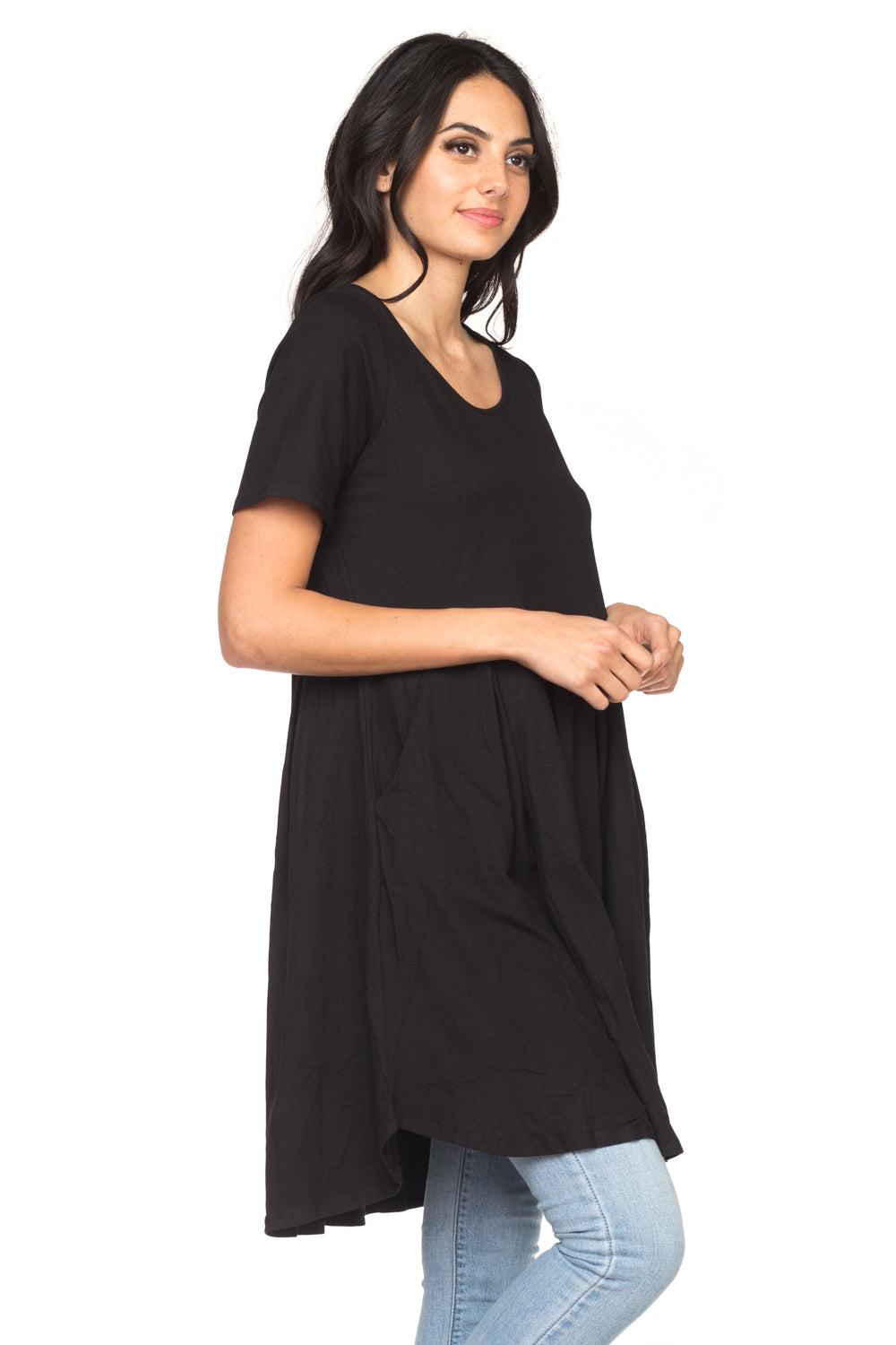 Women's Black A-Line Dress With Pocket
