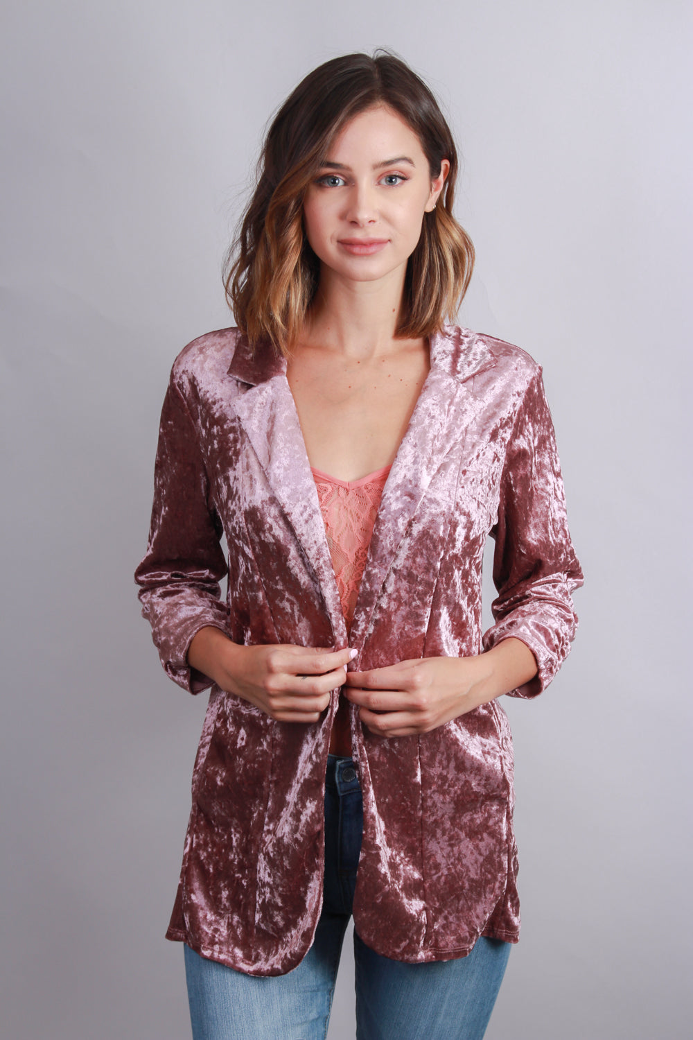 Women's Crushed Velvet Sleeve Blazer Top