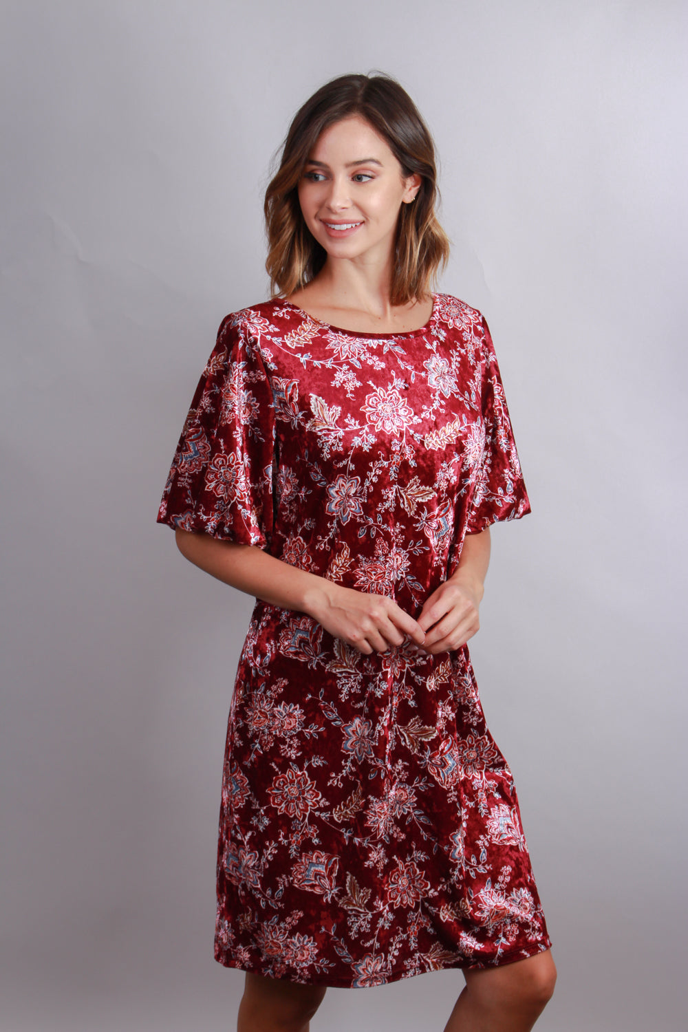 burgundy  short sleeve crushed velvet floral print tunic dress