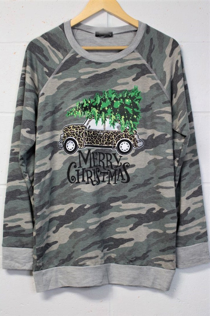 Women's Holiday Long Sleeve Camo Top