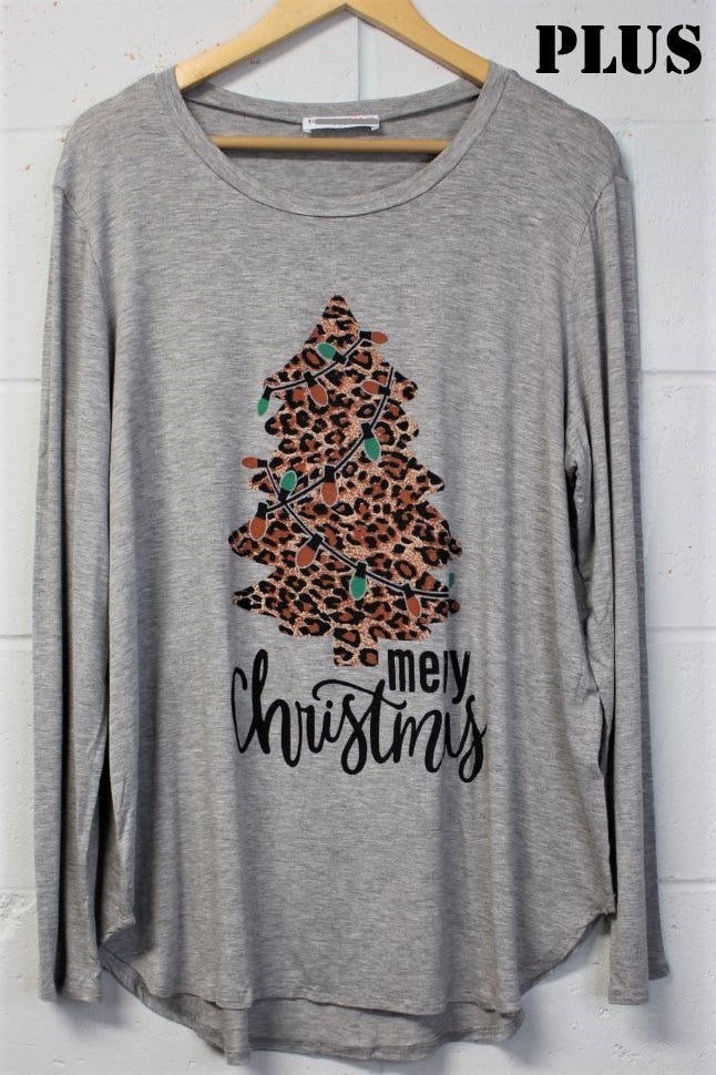Women's Plus Holiday Long Sleeve Top