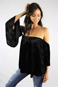 Women's Off Shoulder Glitter Top with Bell Sleeves