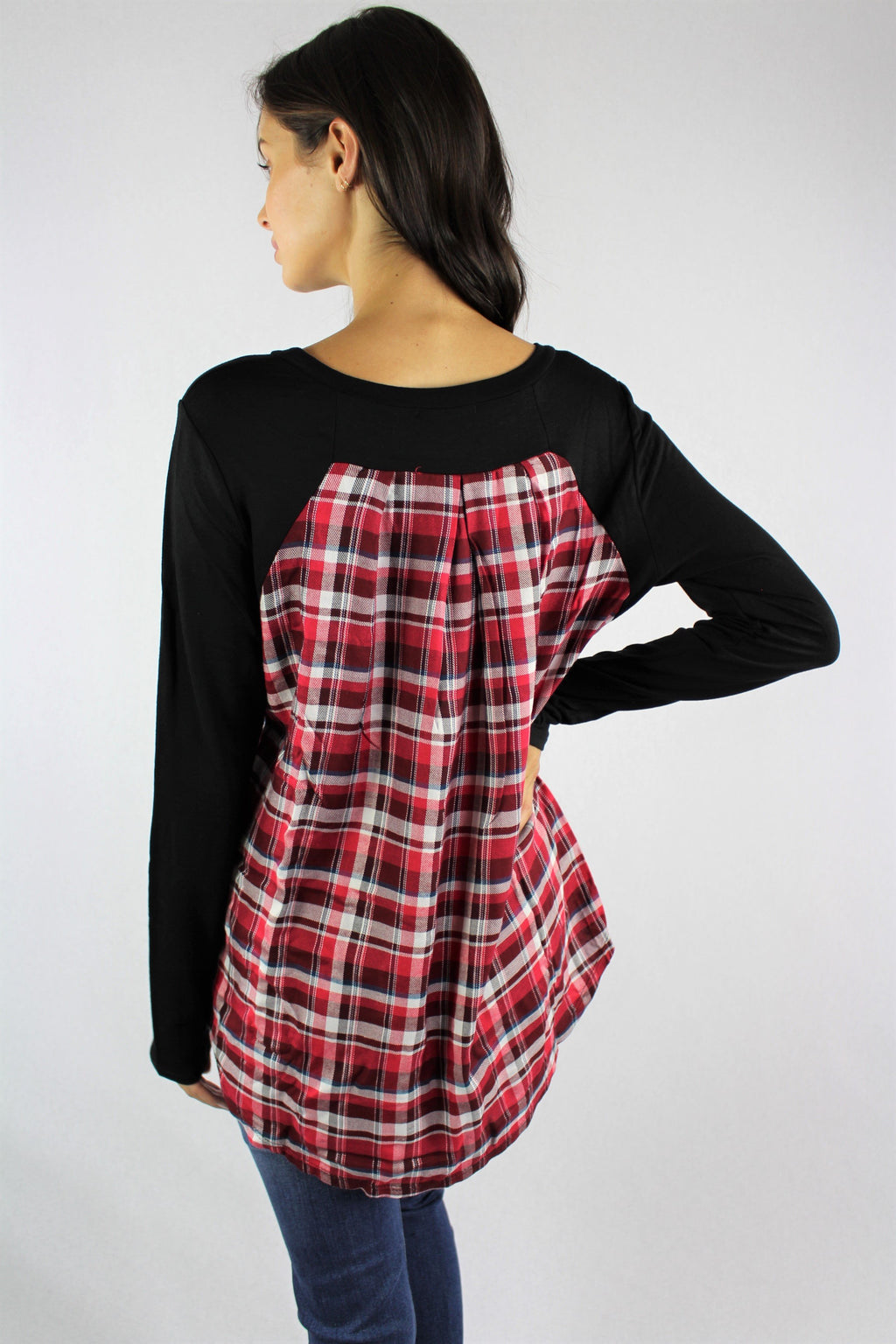 Women's Holiday Long Sleeve Top with Back Detail
