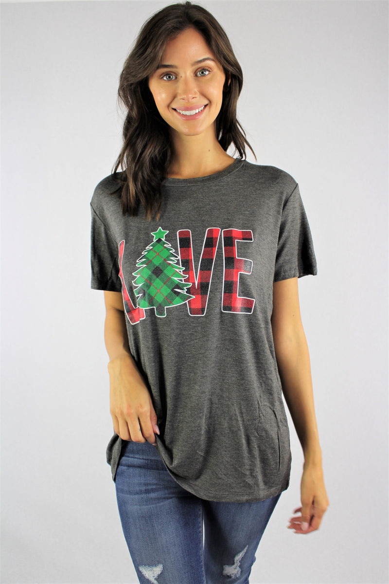 Women's Short Sleeve Top with Holiday Theme
