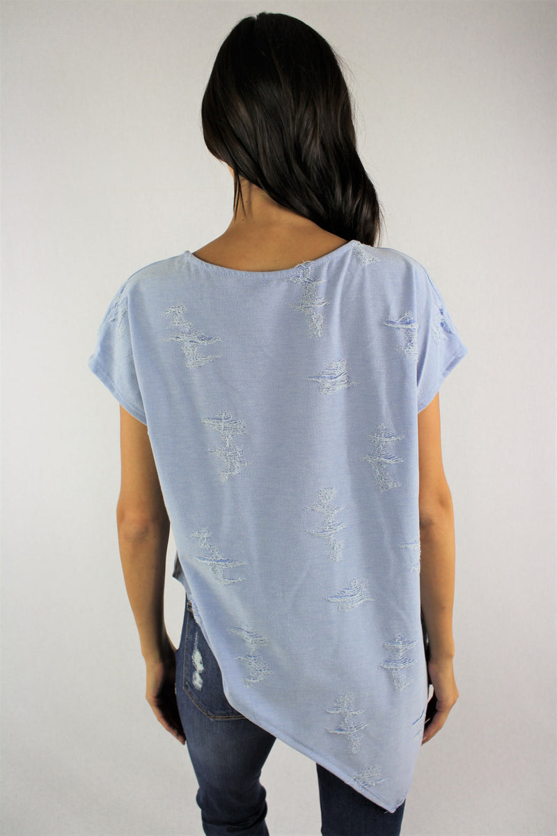 Women's Round Neck Ripped Top with Uneven Hem