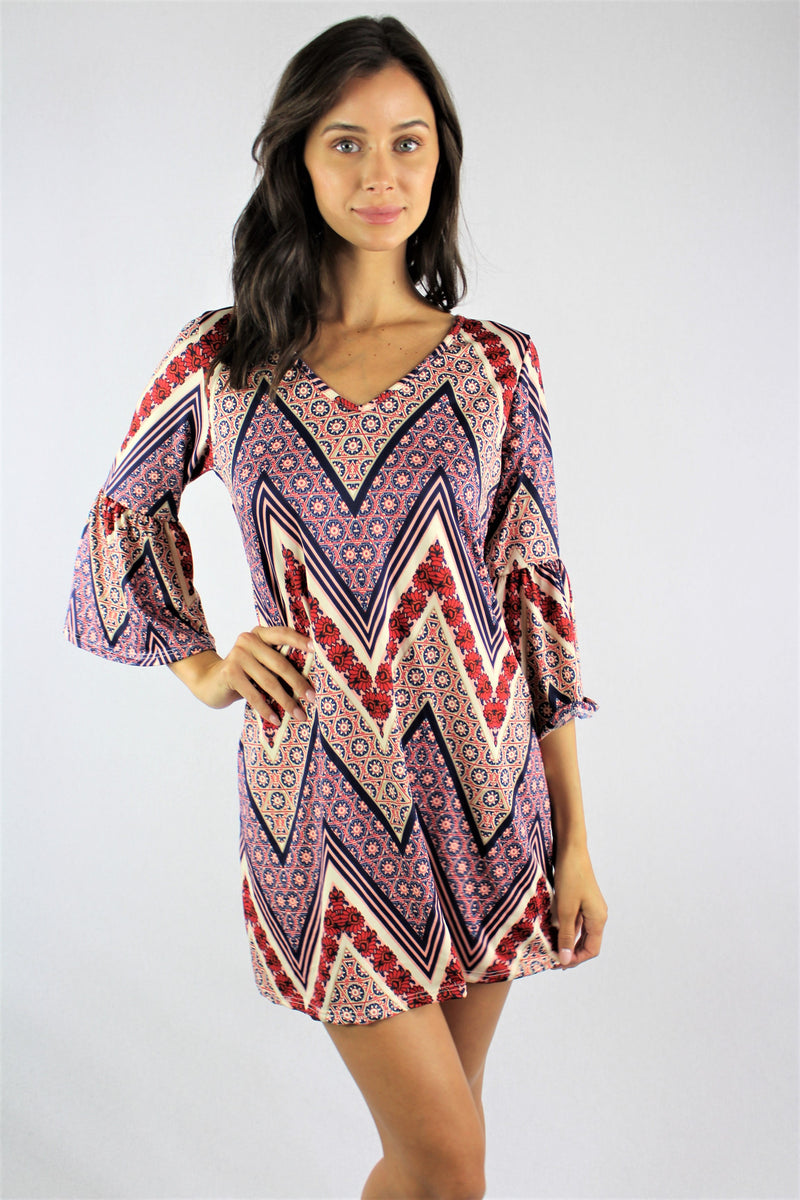 Women's 3/4th Bell Sleeve V Neck Printed Dress