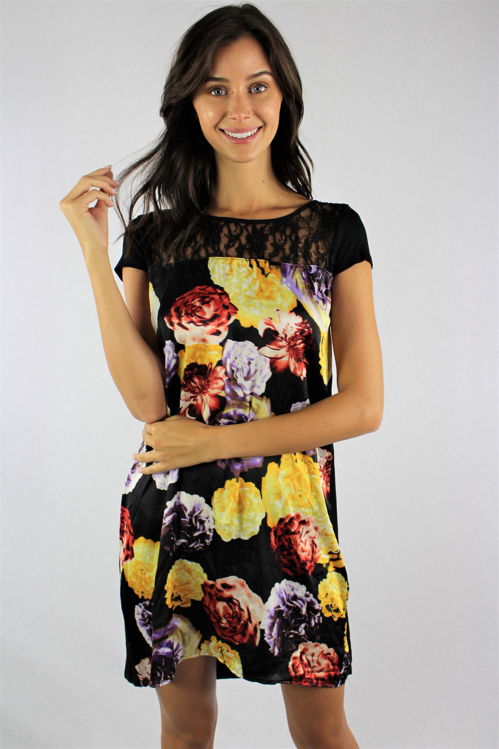 Women's Floral Mini Dress with Lace Detail