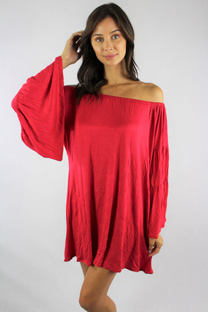 Women's Off Shoulder Dress with Bell Sleeves
