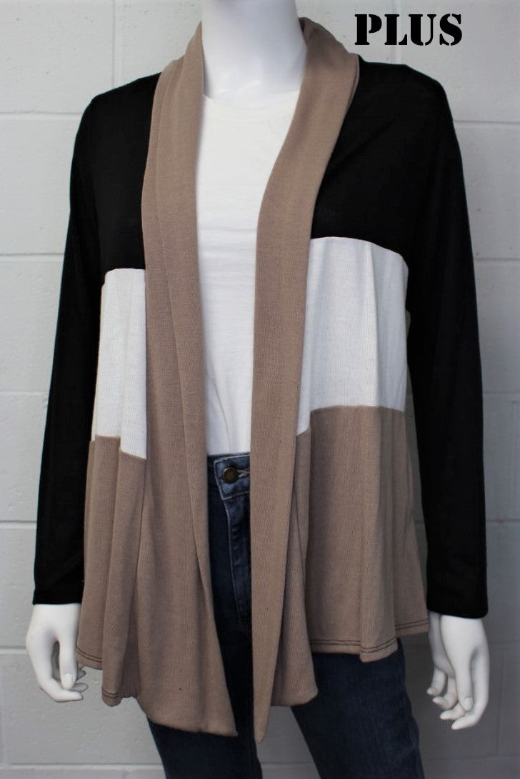 Women's Plus Size Open Front Drape Knit Cardigan