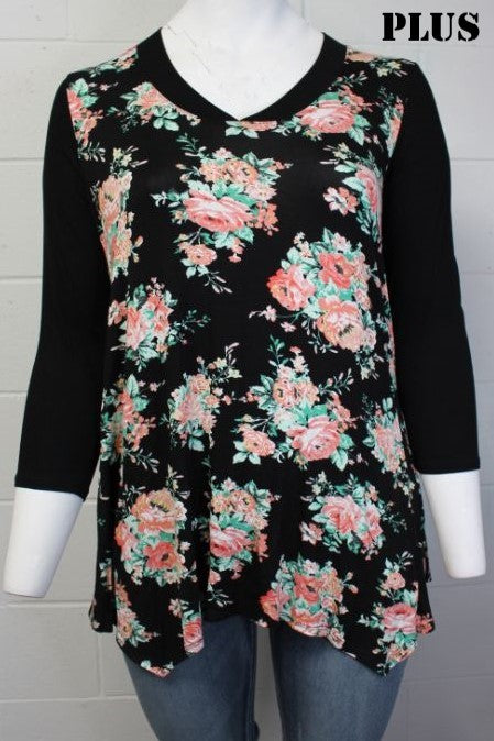 Women's Plus Size 3/4 Sleeve V-Neck Floral Print Top