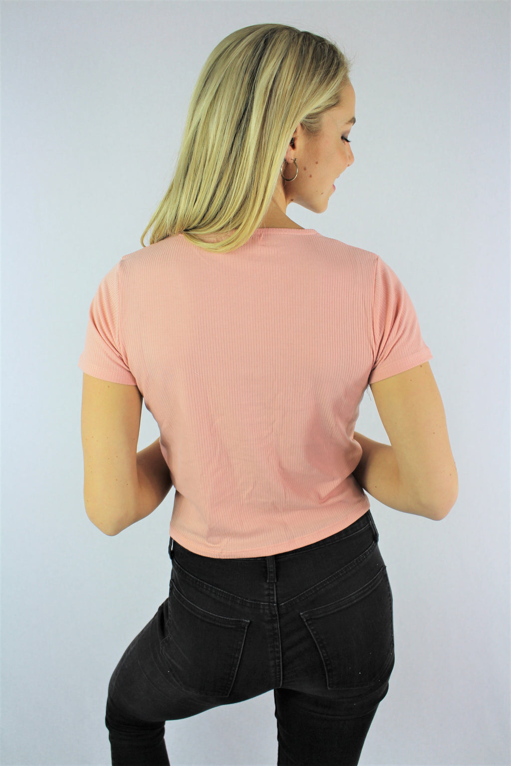 Women's Short Sleeve Crop Top with Cinched Front