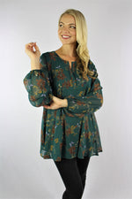 Women's Long Sleeve Floral Top with Wide Hem
