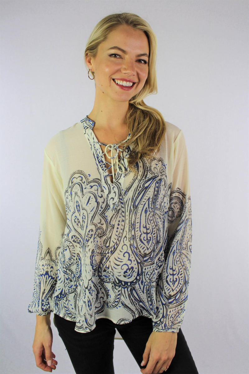 Women's Long Sleeve Printed Top with String Detail